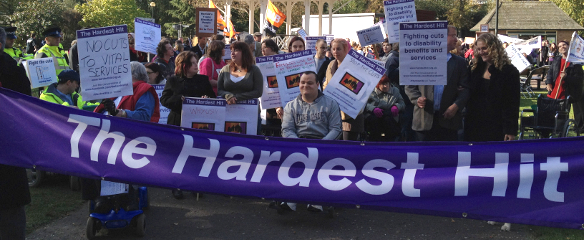 Photo of Hardest Hit campaigners protesting in Norwich, October 2011