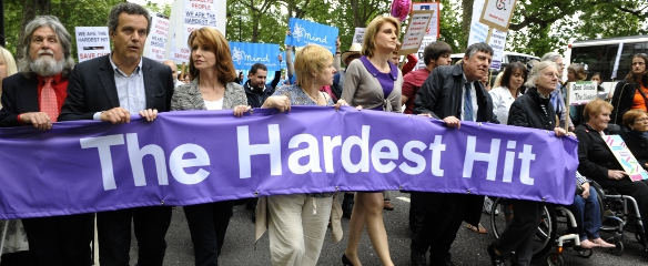 Photo of the Hardest Hit banner at the front of the March in May 2011