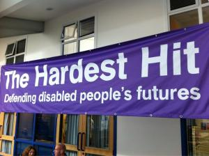 Photo of the Hardest Hit Banner displayed at the event in Glasgow
